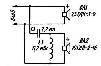 схема кроссовера-фильтра акустической колонки электроника 25ас-128 Квартир предлагает купить