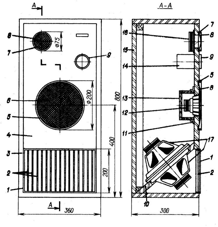 Конструкция АС со сдвоенной