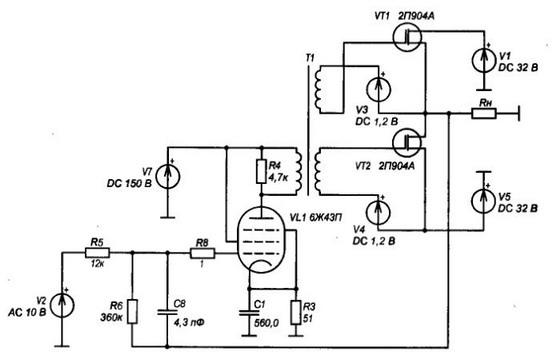 схема гибридного усилителя - Практическая схемотехника.