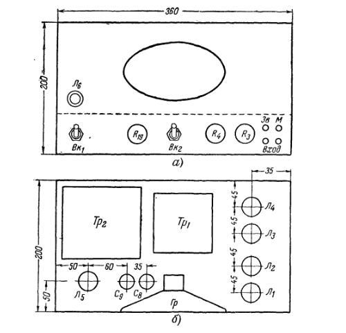 Рис.2. Расположение деталей усилителя для школьного радиоузла. а-на лицевой панели, б-на шасси.