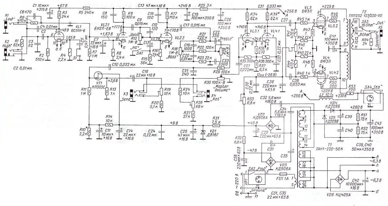 Схемы гитарного лампового усилителя.