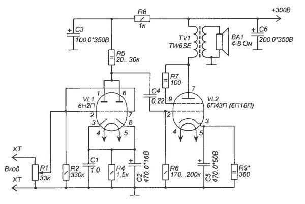 Рис.1. Принципиальная схема высококачественного лампового усилителя.